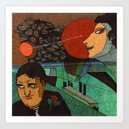Date at the sunset Art Print