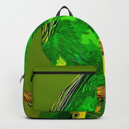 budgie hangs upside down on the branch vector art Backpack