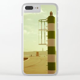 Lisbon perspective lighthouse Clear iPhone Case