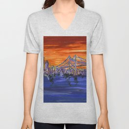 Ben Franklin Bridge Sunset Unisex V-Neck