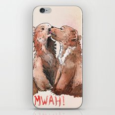 Bear cub kiss iPhone Skin