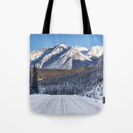 Winter Wonderland - Road in the Canadian Rockies Tote Bag