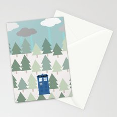 TARDIS lands in the Pacific Northwest Pine Tree Forest - Oregon, Washington, Portland, PDX, Seattle Stationery Cards