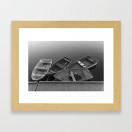 Four Skiffs Black and White Framed Art Print