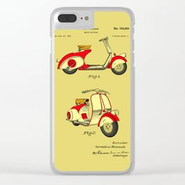 Motor Bicycle Patent Circa 1949 - RED Clear iPhone Case