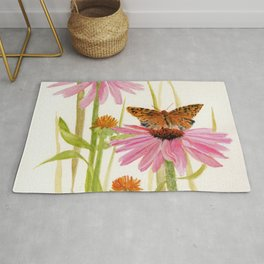 Pink Coneflower Butterfly Watercolor Rug