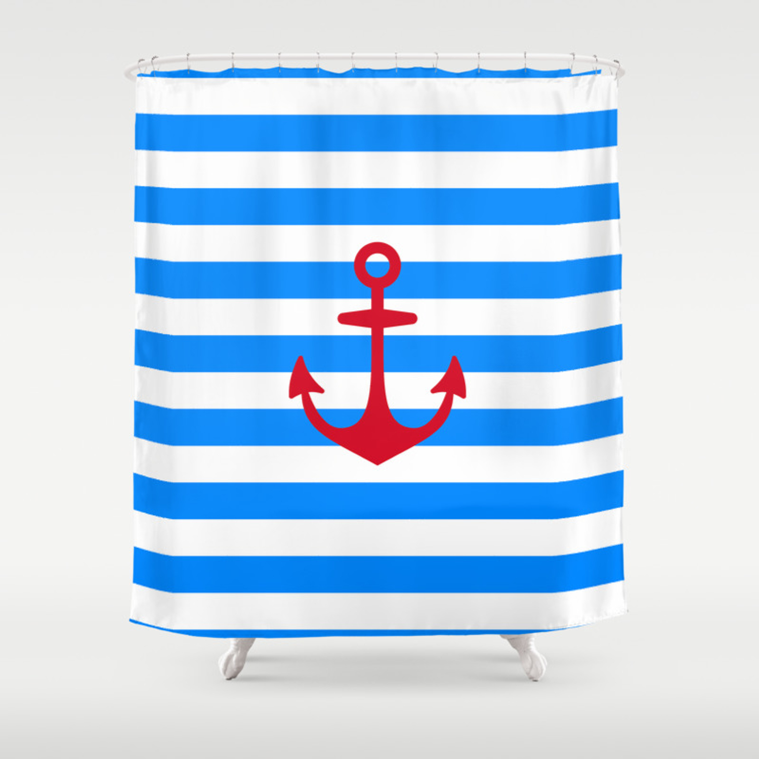 Red Anchor On Navy Blue Stripes Shower Curtain