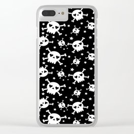Skull and Crossbones White on Black Clear iPhone Case
