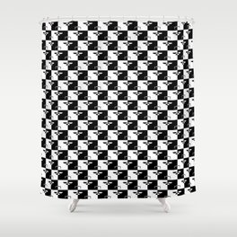 Black and White Checkerboard Scales of Justice Legal Pattern Shower Curtain