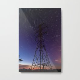 Power line and star trails Metal Print