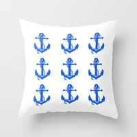 anchors Throw Pillows featuring Anchors by Chilligraphy