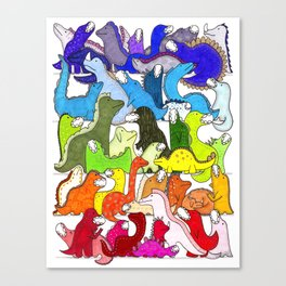 Rainbow Dinosaur Gradient Canvas Print