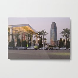 National Theater of Catalonia (TNC) and the AGBAR Tower. Metal Print