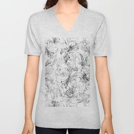 lily sketch black and white pattern Unisex V-Neck