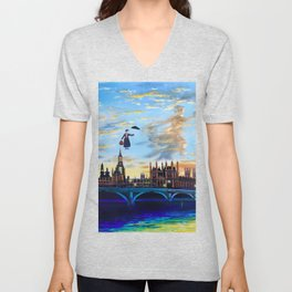 Mary Poppins returns to London Unisex V-Neck
