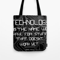 technology Tote Bags featuring Technology by Hollie B