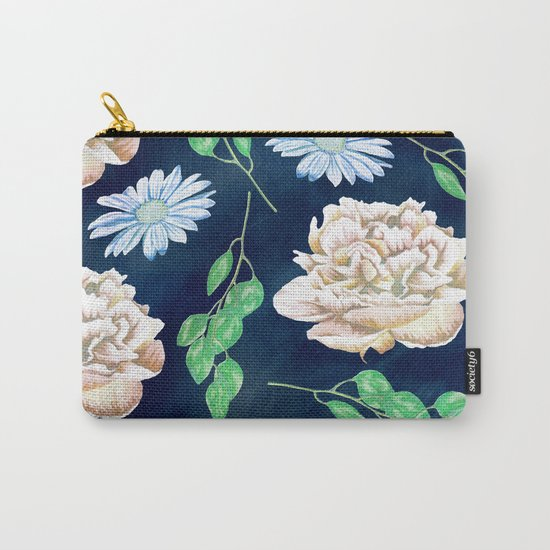 Rose Garden Navy Blue Antique Floral Pattern Carry-All Pouch