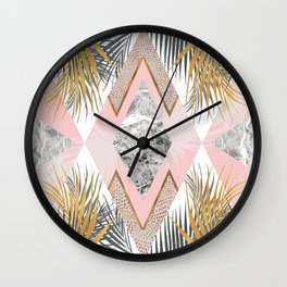 Marbled tropical geometric pattern I Wall Clock