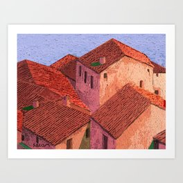 Houses by the lake Art Print