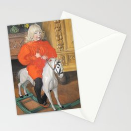 Boy on a Rocking Horse by Carl Larsson Stationery Cards