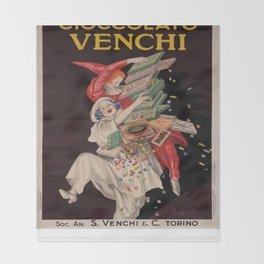 Vintage poster - Cioccolato Venchi Throw Blanket