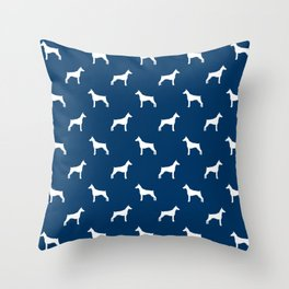 Doberman Pinscher dog pattern navy and white minimal dog breed silhouette dog lover gifts Throw Pillow