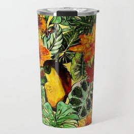 Tropical Vintage Exotic Jungle Flower Flowers - Floral watercolor pattern Travel Mug