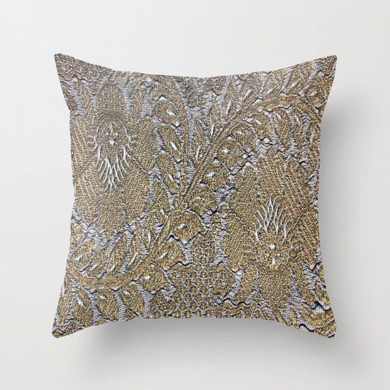 Antique Gold Decorative Pillows : Antique Vintage Floral Leaf Pattern - Gold Throw Pillow by Judy Palkimas Society6