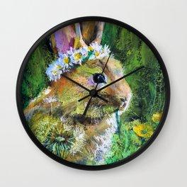 Sweet Bunny and  Yellow Daisies. Baby Design Wall Clock