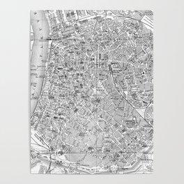 Vintage Map of Antwerp Belgium (1905) BW Poster