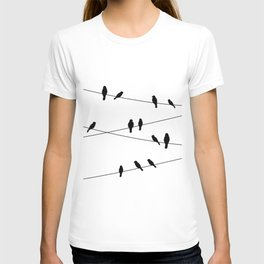 Birds on a line in Black T-shirt