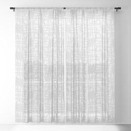 Grey & white neutral squiggle pattern Sheer Curtain