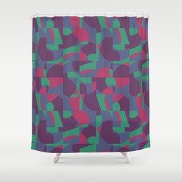 Retro-Inspired Geometric Pattern in Desaturated Jewel Tones Shower Curtain