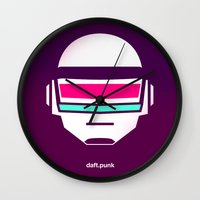 daft punk Wall Clocks featuring Daft Punk by agustain