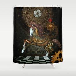 Steampunk,mystical steampunk unicorn Shower Curtain