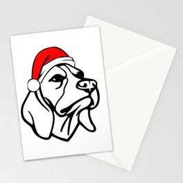 Beagle Dog with Christmas Santa Hat Stationery Cards