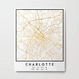 CHARLOTTE NORTH CAROLINA CITY STREET MAP ART Metal Print