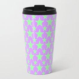 Green Star Pattern on Purple Travel Mug