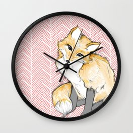 Chevron Foxy Four  Wall Clock