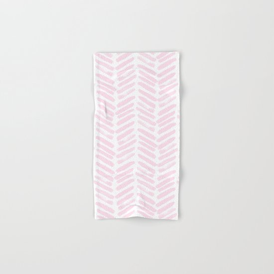 Handpainted Chevron pattern light pink stripes Hand & Bath Towel