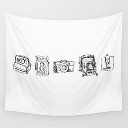 Vintage Camera Line Drawing Wall Tapestry
