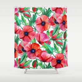 Plenty of Poppies - white Shower Curtain