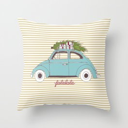 Vintage car with tree Throw Pillow