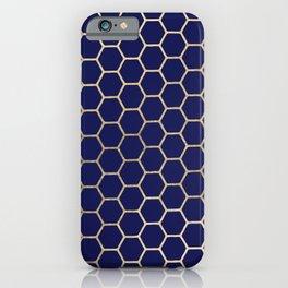 Modern geometrical navy blue gold honeycomb pattern iPhone Case