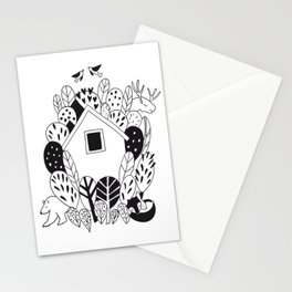 House and animals  in the woods Stationery Cards