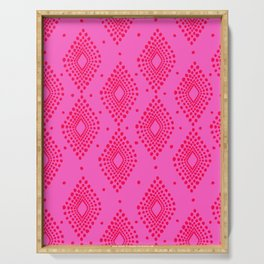 Mudcloth Dotty Diamonds in Neon Pink + Red Serving Tray