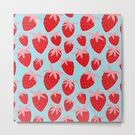 Strawberries on Blue Metal Print