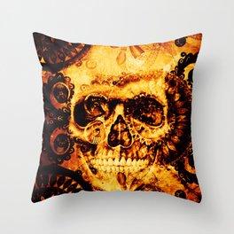 Fire skull Throw Pillow