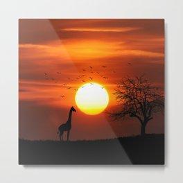 Giraffe sundown Metal Print