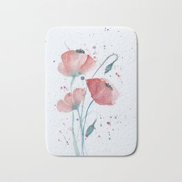 Red poppies in the sun floral watercolor painting Bath Mat